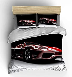 SHOMPE Speed Sports Cars Bedding Sets Full Size,3 Piece Red Roadster Duvet Cover Sets with Pillow Shams for Teens Boys Girls,NO Comforter