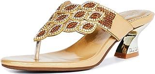 LizFoYa Sandalias para mujer doradas con tacón bajo y diamantes de imitación con correa de tanga
