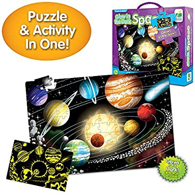 The Learning Journey Puzzle Doubles Glow in the Dark - Space - 100 Piece Glow in the Dark Preschool Puzzle (3 x 2 feet) - Educational Gifts for Boys & Girls Ages 3 and Up