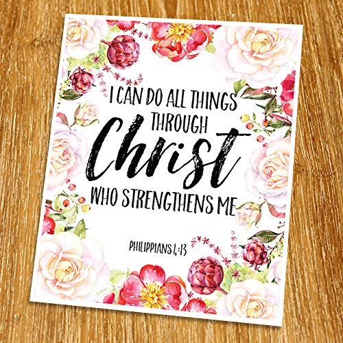 "Philippians 4:13 I can do all things through Christ Print (Unframed), Living Room Decor, Scripture Wall Art, Bible Quote Print, Church wall decor, Wisdom Word, 8x10"", TC-107"
