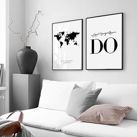 Nordic Ideas Set De 2 Posters Carte Du Monde Et Citation Murale Chambre  Tableaux Décoration Peinture