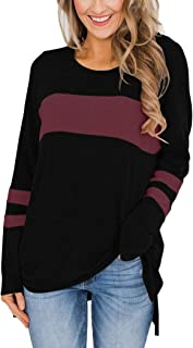 Women's Color Block Long Sleeve Shirt Pullover Round Neck Side Split High Low Tunic Tops