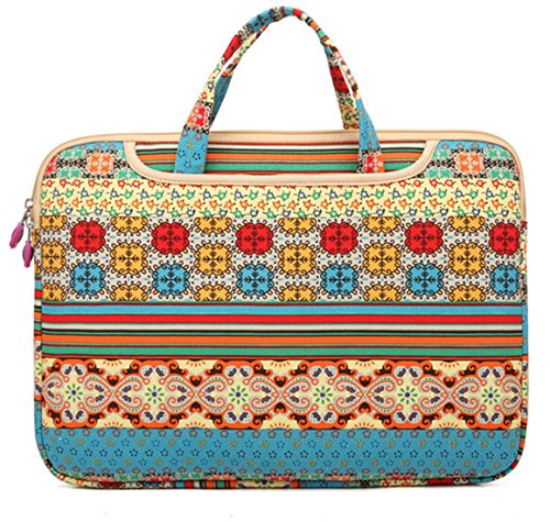 Mollygan Ultraportable Canvas Sleeve Office Tote Briefcase Carry Case for 13-Inch Laptop/Notebook Computer/Macbook Pro/Macbook,Floral Stripe