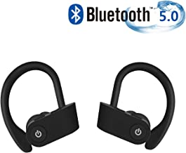 gdhfus Bluetooth Headset, IPX5 Waterproof, Wireless Sports Headset, Bluetooth 5.0, HiFi Bass Stereo, Anti-Sweat in-Ear Headphones, with Microphone, Noise Cancelling,for Workout,iPhone,iPad,Samsung