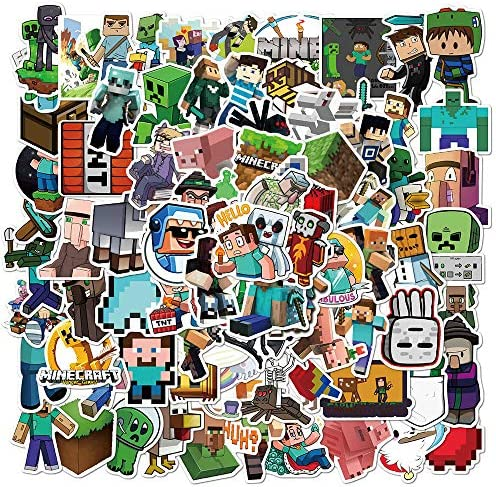 Minecraf_t Stickers – 100 Pack Video Game Theme Funny Vinyl Decals for Laptop,Bumper,Water Bottles,Computer,Phone,Hard hat,Car