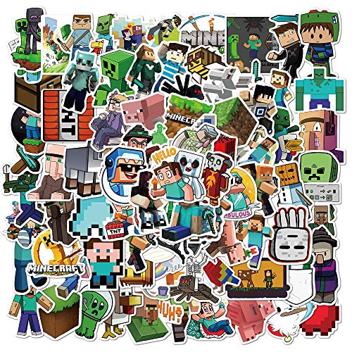 Minecraf_t Stickers - 100 Pack Video Game Theme Funny Vinyl Decals for Laptop,Bumper,Water Bottles,Computer,Phone,Hard hat,Car