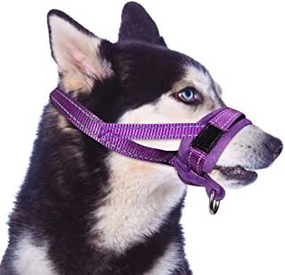 SlowTon Nylon Dog Muzzle, Dog Mouth Cover Adjustable Soft Padded Quick Fit Comfortable Muzzles for Medium Large Dog Outdoor Anti Biting Behavior Training Stop Chewing Barking Attach to Collar