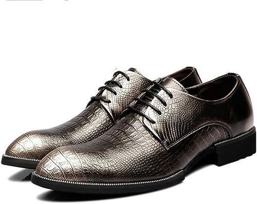 SRY-chaussures Chaussures en Cuir véritable de Mode pour pour Hommes, Texture de Peau de Crocodile (Couleur   Bronze, Taille   6MUS)  nouvelle marque
