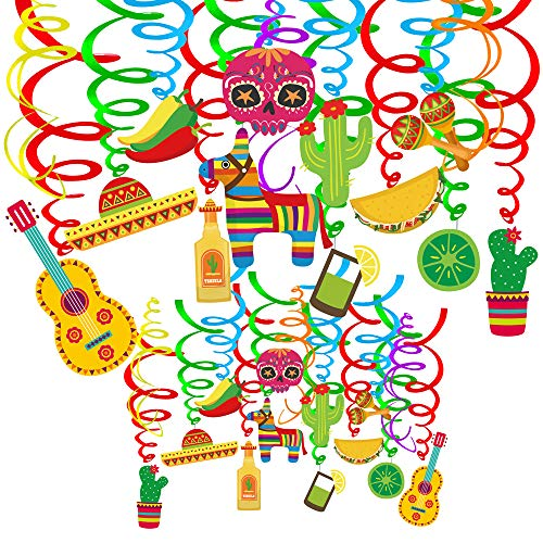 Supla 30 pcs Fiesta Hanging Swirl Decorations Mexican Fiesta Cinco De Mayo Party Swirls Hanging Swirl Streamers Foil Hanging Ceiling Décor with Assorted Cactus Chili Sugar Skull Pinata Maracas Sombrero Hat Taco Lemon Cutouts for Ceiling Spiral Decorations