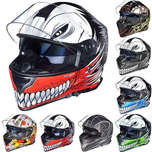 RT-824 Integralhelm Motorradhelm Kinderhelm Motorrad Integral Roller Helm rueger, Größe:S (55-56), Farbe:LNP-GY