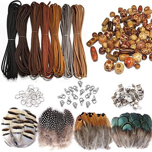 Zasiene 437 Stück Set Lederbänder für Armbänder Lederband Perlen Natur Lederband Flach Lederschnur für DIY Traumfänger Halskette Schmuck mit Gemischten Holzperlen+Drahtendklemmen+Federn und Zubehör