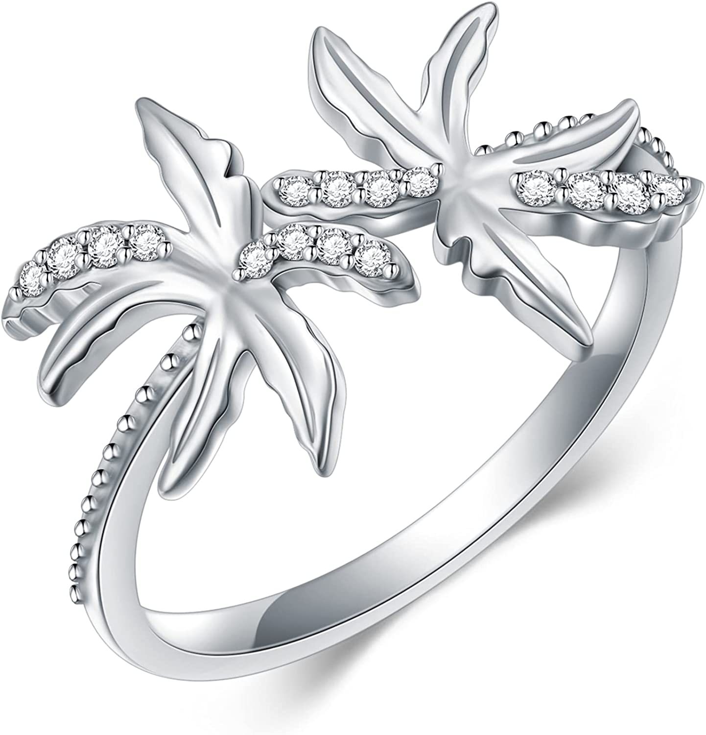 Now free shipping Coconut Tree Ring for Women Sterling Silver Adjustable S925 Open Classic