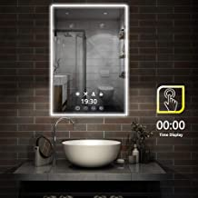 FeelGlad Time Display LED Lighted Bathroom Mirror - 32 x 24 inch Wall Mounted Mirror with Scene Lighting Simulations, Touch Switch, Color Temperature Changing, Hanging Vertically