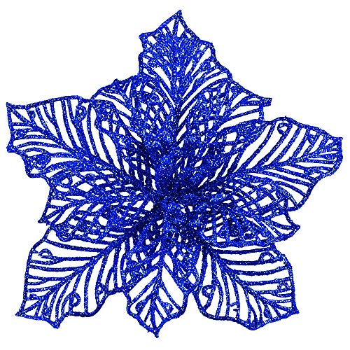 24 Pcs Christmas Blue Glitter Mesh Holly Leaf Artificial Poinsettia Flowers Stems Tree Ornaments 6.6' W for Blue Christmas Tree Wreath Garland Gift Floral Winter Wedding Holiday Decoration