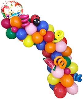 YNOU 128 Pcs JJmelon Theme Party Balloons Arch Garland Kit Decorations, Foil Balloons Blue Orange Green Red Pink Colors La...