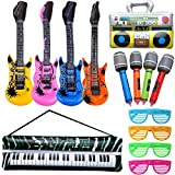 Rock and Roll Party Favors Supplies, Juego de Accesorios Inflables Rock Star, Christmas Birthday Party Gifts, Tema de Concierto Decoraciones de Fiesta, Inflatable Accesorios para Fiestas de Guitarra