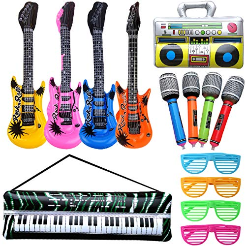 14 Stück Luftgitarre Rockstar Aufblasbare Air-Guitar Luft-Gitarren, Aufblasbare Party Props, Aufblasbares Saxophon Gitarre Mikrofon Trommel Musikinstrumente Zubehör, Party Supplies Favors Ballons