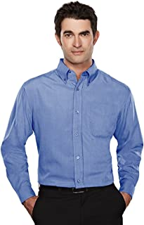 Tri-Mountain Long Sleeve Wrinkle Resistant Shirt with Mini-Houndstooth Design