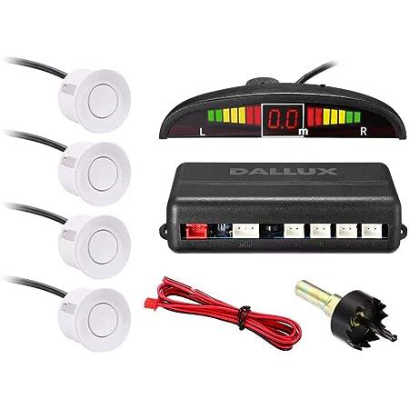 4 White Color Parking Sensors Distance Detection /& Sound Warning Waterproof Reverse Parking Sensors for Car Auto Vehicle Truck Camper Van RV White Cocar Backup Parking Radar System