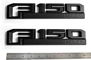 2pcs OEM Black F150 Xlt Side Fender Emblem Badge 3D Logo Nameplate Replacement for F-150 Origianl Size Genuine Parts