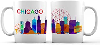 Chicago Iconic City View Ceramic Coffee Mug - 11 oz. - Awesome New Design Colorful Decorative Souvenir Gift Cup for Visiting Friends, Tourists, Men and Women
