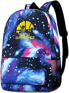 Seattle Supersonics Print Shoulder School Bag Starry Sky Backpack For Student Daypack