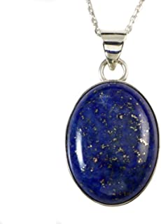 Sterling Silver Natural Dark Blue Lapis Lazuli Gemstone Oval Handcrafted Pendant Necklace 18+2 inches Chain