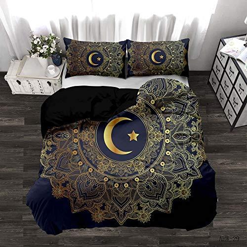LJJYF Ropa de Cama para niños,3D Black Gold Series Bedding Set, Duvet Cover with 2 Pillowcases, Children's Bedroom Single King-Moon_175*218cm(3pcs)