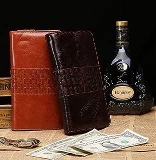 Men's Leather Wallet Clutch Bag Classic Fashion Leather Woven Decoration Multi-Card Long Paragraph Suitable for Leisure (Color : Brown, Size : S)