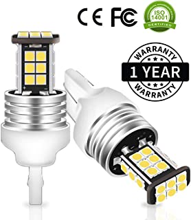 HITBEAM Error Free 12-24V 3030 24-SMD WY21W 7440 T20 W21W LED Bulbs Extremely Bright 1600 Lumens for Back Up Reversing Lights 6500K LED White (Pack of 2)