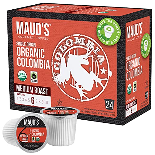 Maud's Organic Colombian Coffee (Organic Medium Roast Coffee), 24ct. Solar Energy Produced Recyclable Single Serve Fair Trade Single Origin Organic Coffee Pods - 100% Arabica Coffee, KCup Compatible