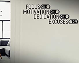 Wall Vinyl Decal Focus On Motivation On Dedication On Excuses Off Quote Motivational Workout Fitness Exercise Gym DIY Vinyl Decor Sticker Home Art Print TT10910