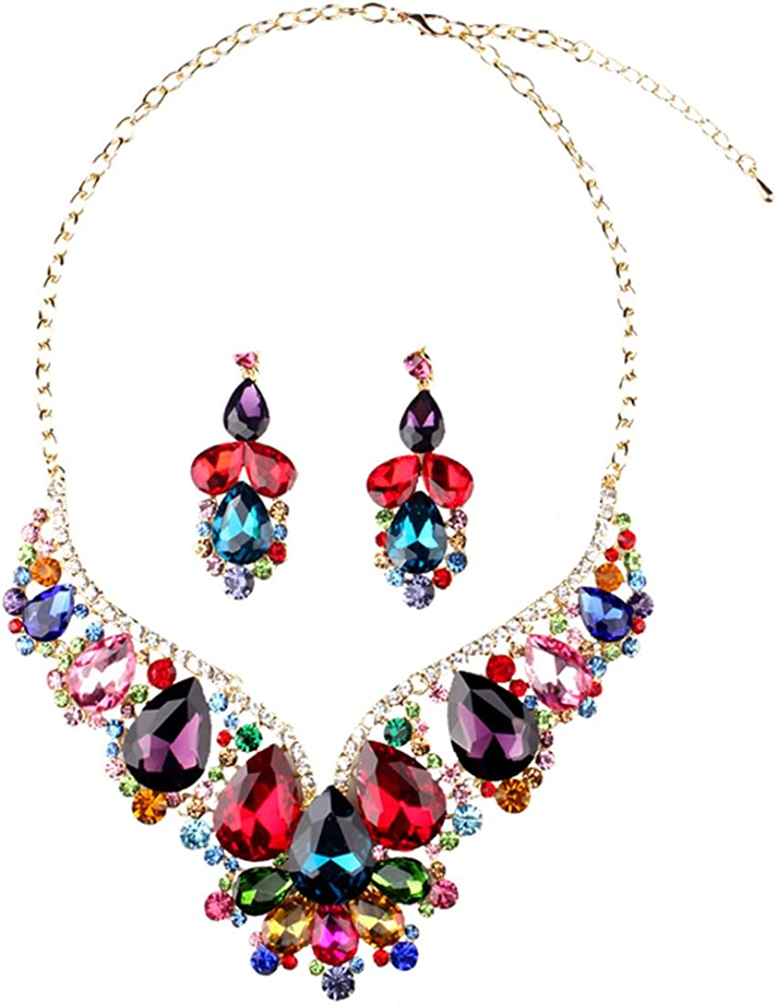 Hamer Gothic Prom Costume Jewelry for Women Crystal Choker Pendant Statement Chain Charm Necklace and Earrings Bridal Jewelry Set for Wedding