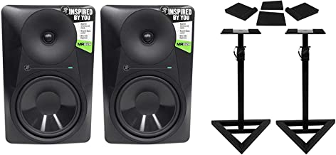 (2) Mackie MR824 8 85w Powered Studio Monitor Speakers+Stands+Isolation Pads