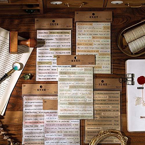 PMSMT 10 Hojas/Juego de Pegatinas Vintage, Pegatinas de Texto Retro, álbum de Recortes, Diario, decoración, Material Escolar, Material de Oficina, papelería