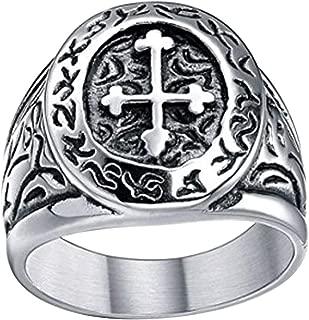 Stainless Steel Ring Vintage Celtic Cross Band Medieval Biker for Men Size 7-13
