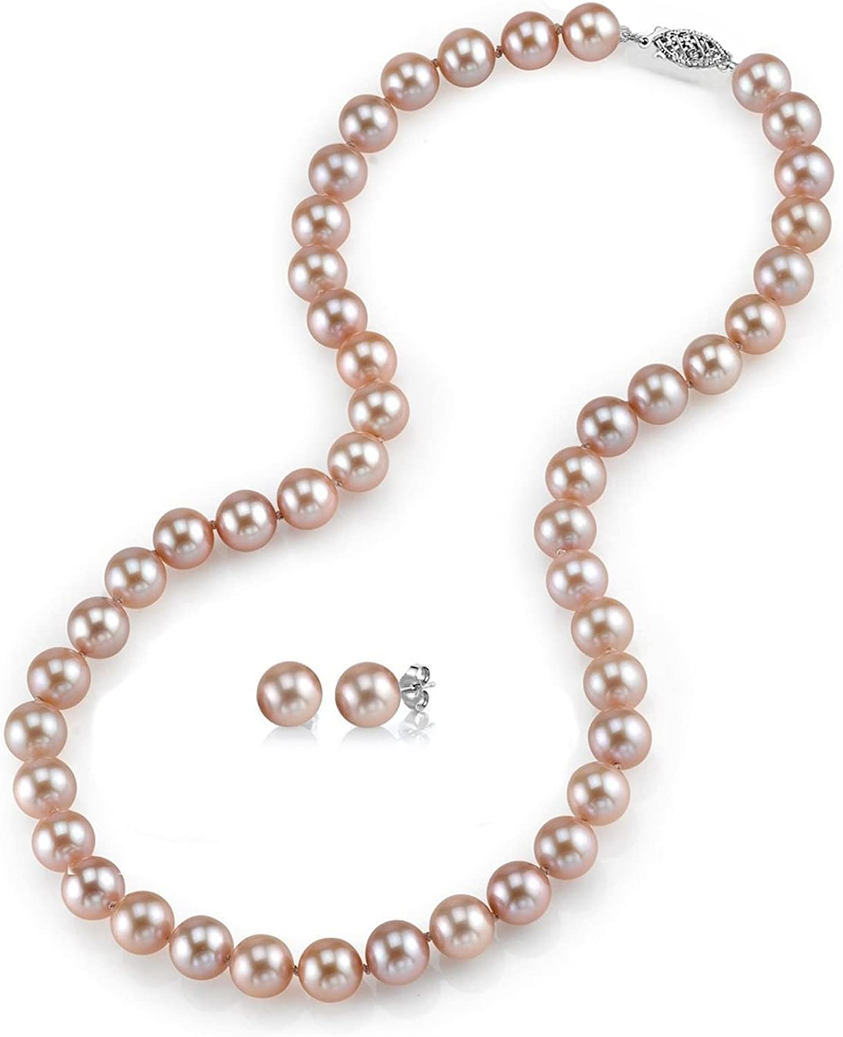 THE PEARL SOURCE 14K Gold 7-8mm Round Pink Freshwater Cultured Pearl Necklace & Earrings Set in 18