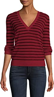 Women's Soft Ribbed Knit Military V Neck Striped Sweater Pullover Top