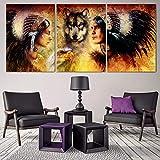 jjshily HD Druck Leinwand Gemälde 3 Panel Alte Indianer