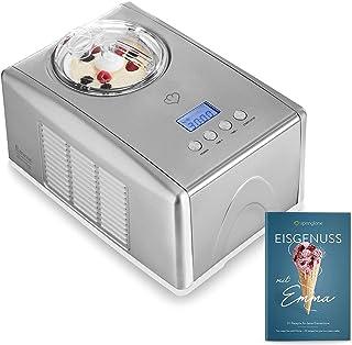 Sorbetière Turbine à Glace Emma avec compresseur auto-refroidissant, 1,5 l machine à glace en acier inoxydable avec mise h...