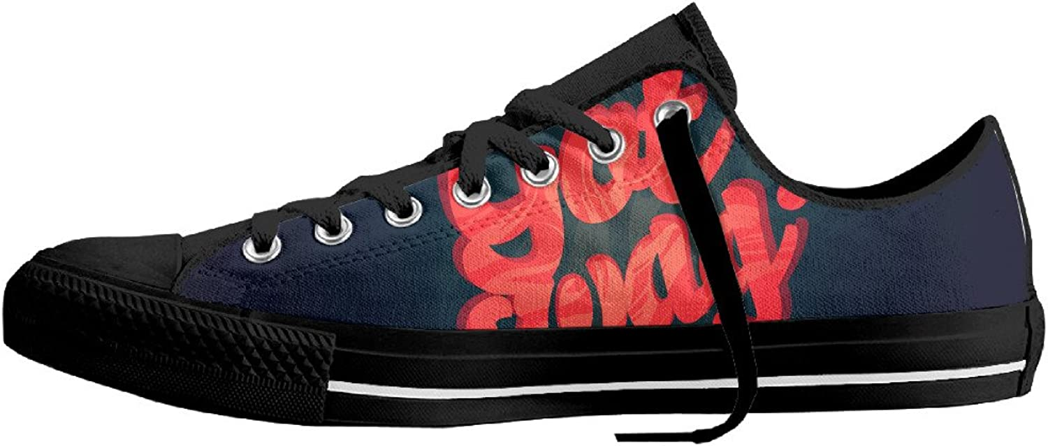 HWUED Fashion Yolo Swag Canvas shoes Low Top Print Lace-up Classic Sneaker for Men Women