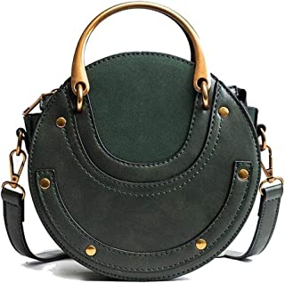 Fashion Round Handbag Women Handbag Rivet Summer Lady Fashion Shoulder Messenger Bag Luxury Leather Tote Women Bag (Color : Green)