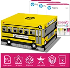 HP Printer Paper MultiPurpose 20lb School Bus, 8.5 x 11 Paper, 3 Ream Case, 1,500 Sheets, Made in USA, Forest Stewardship Council Certified, 96 Bright, Acid Free, Engineered for HP Compatible, 112030C