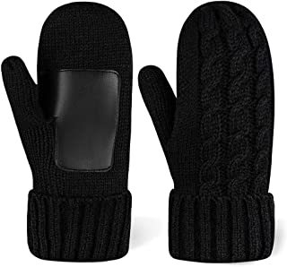 Women's Cold Weather Mittens - Thick Cable Knit Fleece Lined Winter Mittens for Women - Warm Chunky Black Snow Gloves