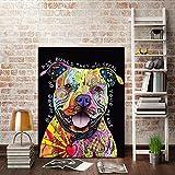 Bilder Auf Leinwand,Mode Bunte Tiere Pitbull Hund Dekor