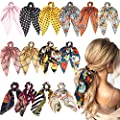 WATINC 14 Pcs Bowknot Hair Scrunchies Silk Satin Scarf Hair Ties Chiffon Floral Scrunchie 2 in 1 Vintage Ponytail Holder with Bows Dot Checks Pattern Hair Scrunchy Accessories Ropes for Women