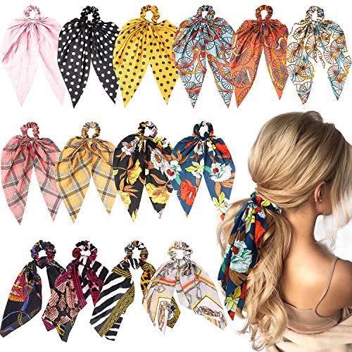 WATINC 14 Stück Boho Bowknot Haargummis Vintage Floral Schal Scrunchies Chiffon Satin Pferdeschwanz Inhaber Mit Polka Dot Haarschmuck Seile für Frauen