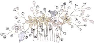 人工パールヘアブラシラインストーン結婚式ブライダルヘッドピースヘアアクセサリーウェディングドレス女性のためのアクセサリー(シルバー)