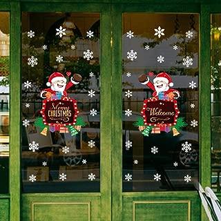 LONGTEN Merry Christmas Sticker Santa Claus Window Clings Decoration Christmas Tree Shop Mall Window Glass Wall Sticker Reindeer Christmas Snowman Snowflake Window Static Sticker Self-Adhesive (S)