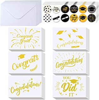 Supla Graduation Cards Bulk 54 Sets Blank Gold Foil Graduation Greeting Cards Congratulations Graduation Cards Congrats Grad Card Set with Envelopes Stickers for College High School Graduation Cards